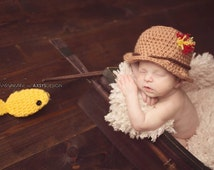 Crochet fisherman's hat-baby fishing hat with fish prop- baby fishing hat- baby fishing set