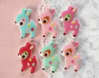 6 Pcs Cute Pastel Deer Cabochons - 24x15mm