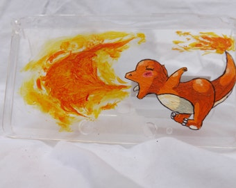 Handpainted Charmander 3DS hard case