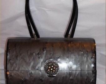 LOVELY Lucite JEWELED WILARDY 1950s Vintage Purse~Big Smoky Bag w/ Double Handles & Rhinestone Clasp