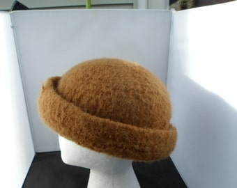CinnamonColor Wool Felt Hat with Brim  Measures 24 & 1/2 inches at Crown