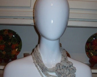 Necklace Skinny Infinity Flower Scarf - Oatmeal