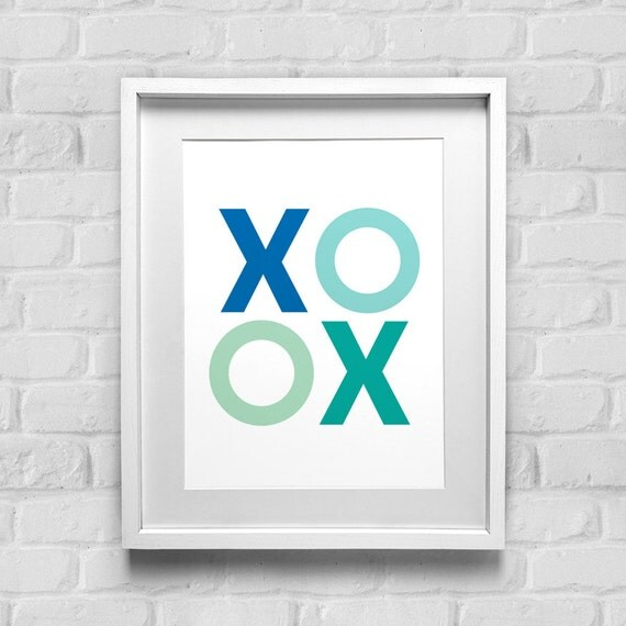 Xoxo Print Hugs And Kisses Art Print Love Home Decor