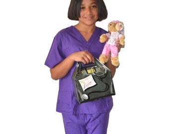 Kids Doctor Costume with Scrub Set, Doctor Bag and Scrubs Bear