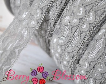 "Grey Stretch Lace 1.25"" inch size Stretchy Lace Trim - Lingerie Bridal Garter wedding Baby Headband stretch Lace"