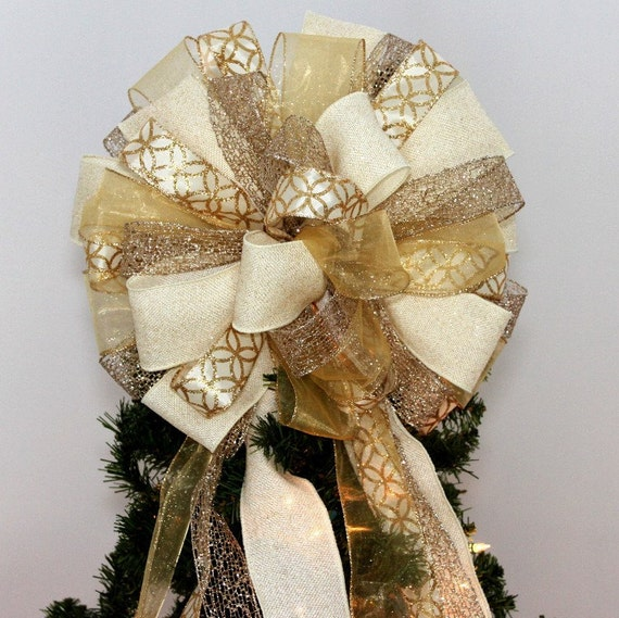 Ivory Gold Burlap Christmas Tree Topper Bow Mantel Wreath Bows