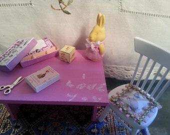 Miniature Table - Rabbit - Blackboard - Pink  -  Dollhouse - 1:12 scale -