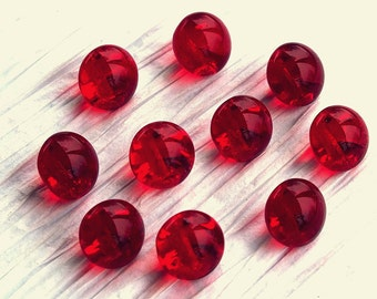 Set of 10 Round Ruby Red Glass Buttons ~ 10mm ~ Rare Antique CZECH GLASS BUTTONS ~ 10 Vintage Buttons