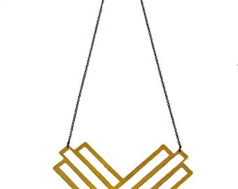 Fillmore Necklace - hand sawed geometric necklace