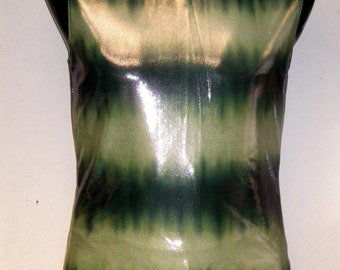 Mens Sleeveless Tank, Lycra Muscle Shirt, S, M, L, Wet Look, Green, Stripes, Festival Clothing, Gym Wear, Sports Clothing, Mens Gym, Shiny