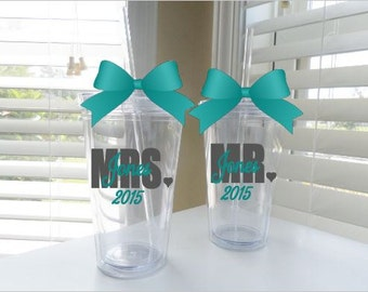Mr. & Mrs. tumblers (Set of 2) - done in your choice of colors (up to 2)