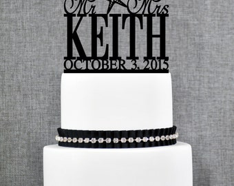 Destination Last Name with Starfish Wedding Cake Toppers with Date, Custom Beach Wedding Cake Topper, Mr and Mrs Wedding Cake Topper- (T035)