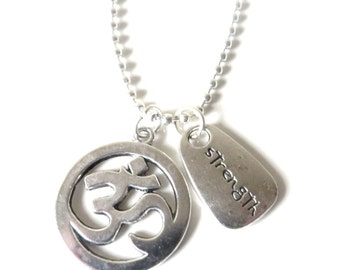Yoga Om Ohm Strength Serenity Meditation Love Yoga Charm Necklace YOU Choose Necklace Length