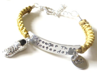 Stronger Than Yesterday Running Sneaker 5k 10k 13.1 26.2 RUN Charm Bracelet You Choose Your Running Charm and Cord Color(s)
