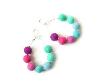 Felted earrings felt earrings azure blue pink purple felt wool earrings bals felted spring earrings