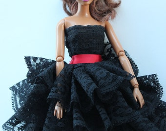 11.5 inch dolls clothes-black lace dress with red waist (68)