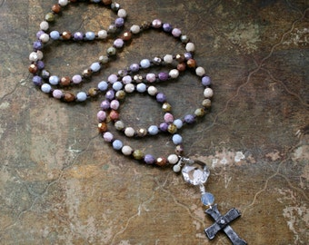Bohemian Style, Hand Knotted, Artisan Cross Necklace - 018