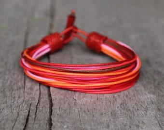 Colorful Bracelet, African Bracelet for Her, Ethnic Jewelry, Gift for Sister, Designer bracelet Beach Jewelry, Boho Bracelet Red Pink Orange