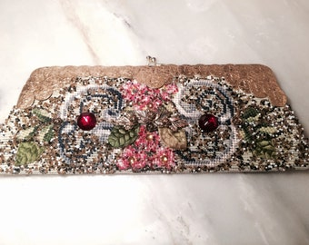 C. 1950s Decorated Clutch Purse with Needle Points and Beading by Hand.