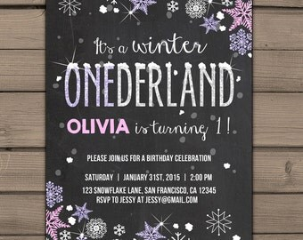 Winter ONEderland invitation Birthday party invite Winter birthday party Winter ONEderland birthday party Snowflakes Pink Purple PRINTABLE
