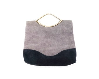 FRENCH VINTAGE 1970s , Grey and Navy Suede / Leather Hand Bag / Small Purse , Small Clutch Bag with Metal Handles , Party Clutch , Retro