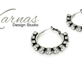 CRYSTAL CLEAR HOOPS 24ss Crystal Chaton Leverback Earrings Made With Swarovski Elements *Antique Silver *Karnas Design Studio *Free Shipping