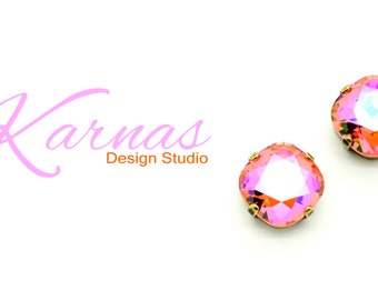 PADPARADSCHA GLACIER 12mm Crystal Cushion Cut Earrings Swarovski *Pick Your Finish *Karnas Design Studio *Free Shipping