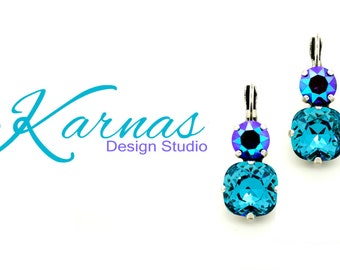 INDICOLITE VELVET 12mm/8mm Crystal Cushion Cut Earrings Made With Swarovski Elements *Pick Your Finish *Karnas Design Studio *Free Shipping*