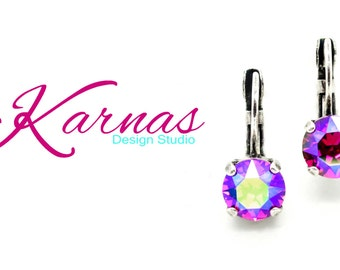 FUCHSIA GLACIER BLUE 8mm Crystal Chaton Drop Earrings Made With Swarovski Elements *Pick Your Finish *Karnas Design Studio *Free Shipping*