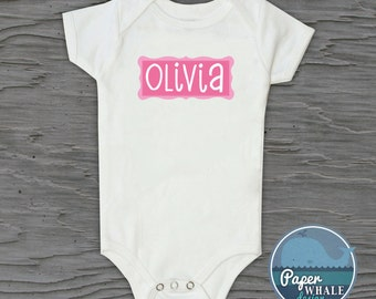 Personalized Name Baby Onesies, Custom Girl's Name Baby Body Suit