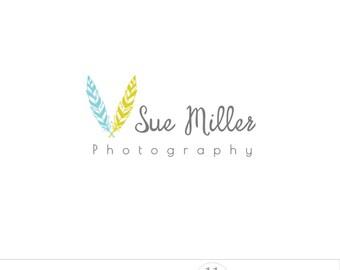 Feather logo design, premade logo, business branding, custom logo