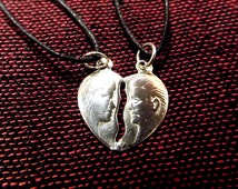 Couple's Necklace Pendant Anniversary Sterling Silver 925 Adam and Eve Romance Love Marriage