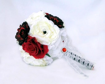 Brooch Bouquet Bridal Wedding Bouquet White Black and Red Broach Bouquet Silk Wedding Flowers Gothic Steampunk Wedding Bouquet Peony Flowers