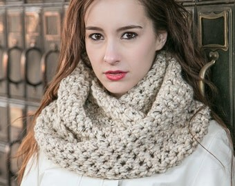 Knit Infinity Scarf // Wool Circle Scarf // Holiday Gifts // THE ELOISE shown in Oatmeal