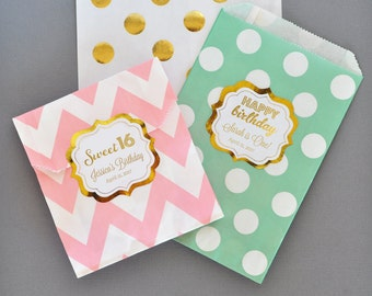 Sweet 16 Party Favor Bags - Sweet 16 Favor Bags - Sweet Sixteen Party Favors - Sweet 16 Birthday Party Ideas Favor Bags (EB2358FY) set of 24