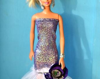 Fashion doll dress, Wedding dress, evening dress, Handmade Dress, barbie dress