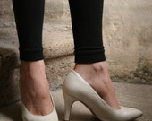french pump stiletto pearly pearl white cream leather Carla Selvone