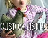 CUSTOM LISTING for Amy - Weighted Wool Hen in Grey Lambswool With One Chick and One Polish Wooden Egg
