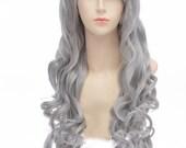 Black Butler / Kuroshitsuji Queen Victoria 90cm long gray wavy cosplay wig . curly wig