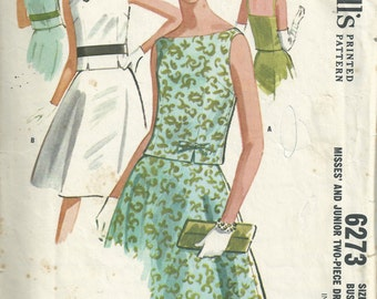 Vintage 1960s McCalls 6273 Sewing Pattern - 60s two piece dress pattern