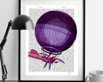 Blanchards Hydrogen Hot Air Balloon Print - dictionary art print dictionary page dictionary artwork print on dictionary paper book page art