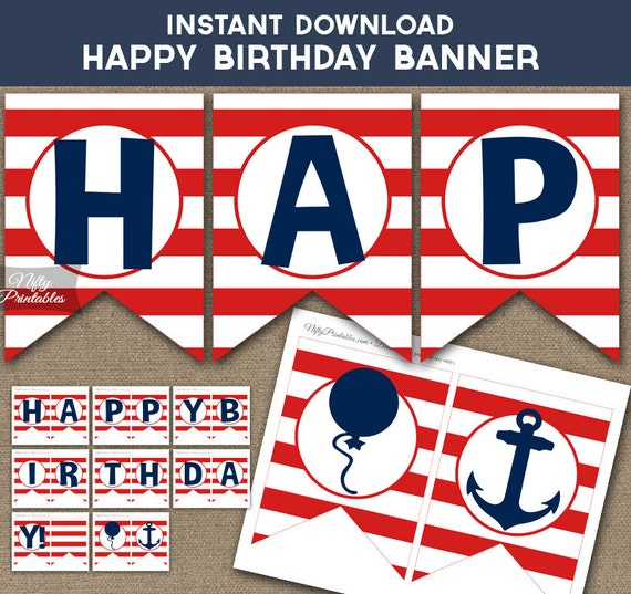 Items similar to Birthday Banner - Printable Happy ...