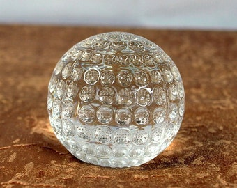 Paper weight, golf ball, clear , pressed glass, vintage, collectable