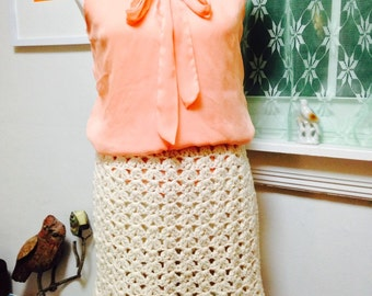 Vintage Crocheted Skirt, Could Also be Used as a Cape