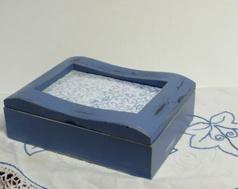 Picture Frame Wooden Box ~ Shabby Trinket Box ~ Rustic Jewelry Box ~ Blue Rustic Box