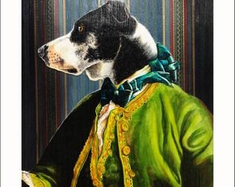 Regal custom pet portrait. Anthropomorphic animal painting of pet in fancy clothes