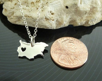 Tiny Sterling Silver Bulgaria Necklace / Custom Heart / Small Bulgaria Necklace / Love Bulgaria / Country Necklace