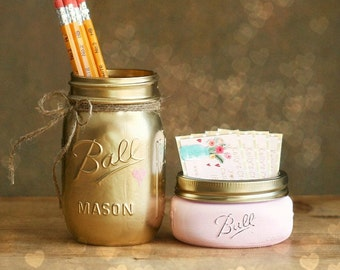 Business Card Holder - Teacher Gift - Mason Jar Decor - Mason Jars - Gift For Teacher - Office Decor - Shabby Chic Decor -  Pencil Holder