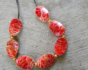 Japanese paper wooden necklace-Abstract red