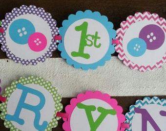 6ft Cute as a button custom Birthday Banner
